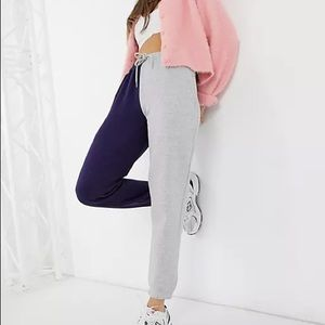 ASOS - Daisy Street relaxed sweatpants in color block two-piece in grey and navy